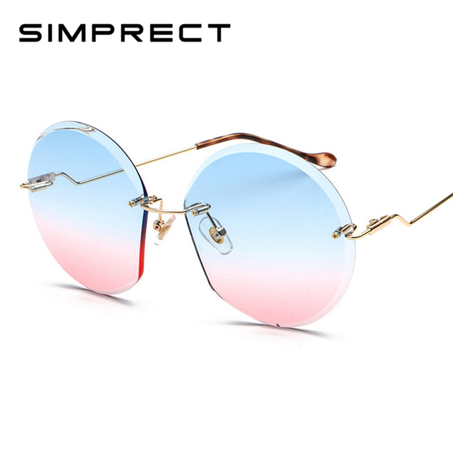 64d597cd1c SIMPRECT ronda De 2019 gafas De sol De las mujeres sin montura De gafas De sol  Vintage De lujo De marca De diseñador Retro Lunette De Soleil Femme