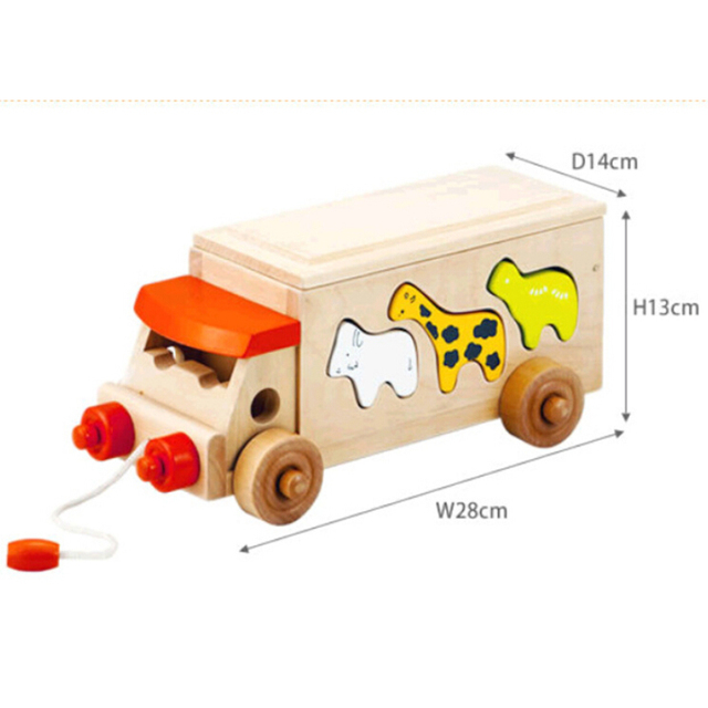 Unique Educational Wooden Bus with Animals