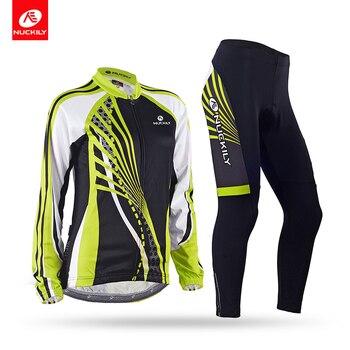 Inverno NUCKILY Mulheres Bicicleta Conjunto Camisa de Ciclismo Verde Jersey de Lã Térmica Calças Ciclo Define Montando Roupas GE010GF010