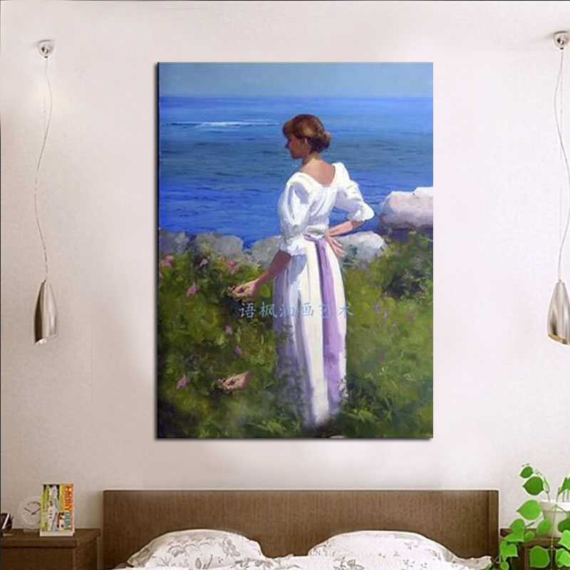 Hand-paint portrait oil painting on canvas landscape lady decorative wall pictures home decoration ready to hang