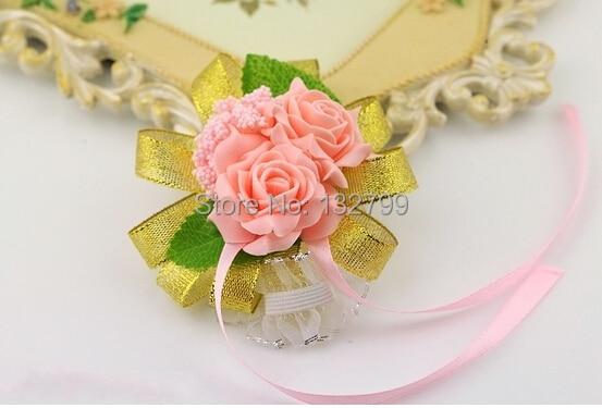 Bridesmaid Wrist Corsages Decorative Rose Bride Hand Flower Bracelet Wedding