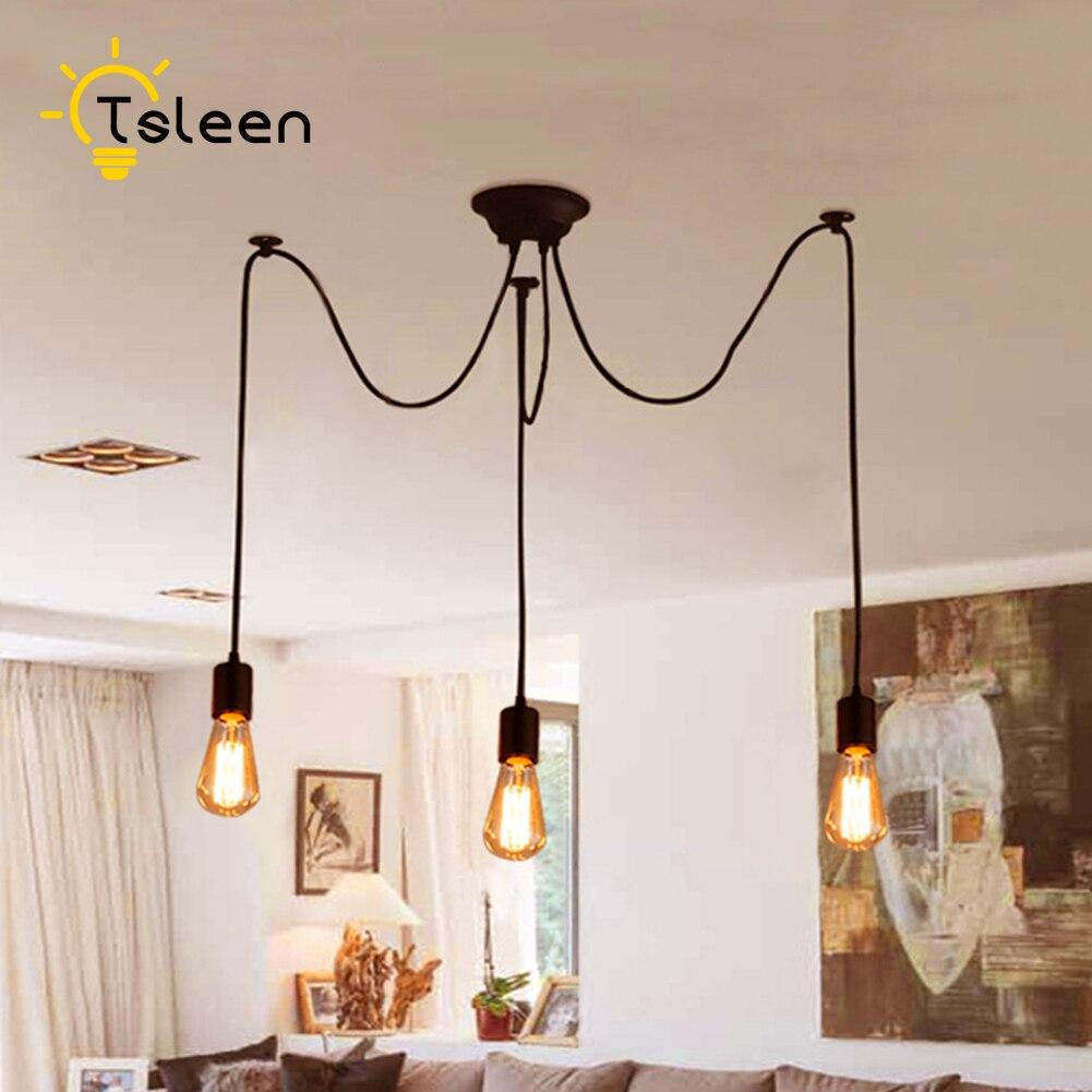TSLEEN E27E26 Vintage Nordic Spider Pendant Lamp Holder Hanging Adjustable Retro Lights Loft Classic Home Decorative Light
