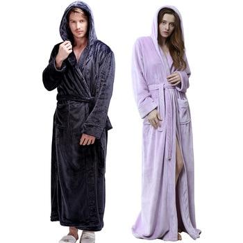 Women Lounge Nightgown Flannel Robe Kimono Bathrobe Gown Lovers Sleepwear Sexy Nightwear Thick Warm Winter Men Home Clothes