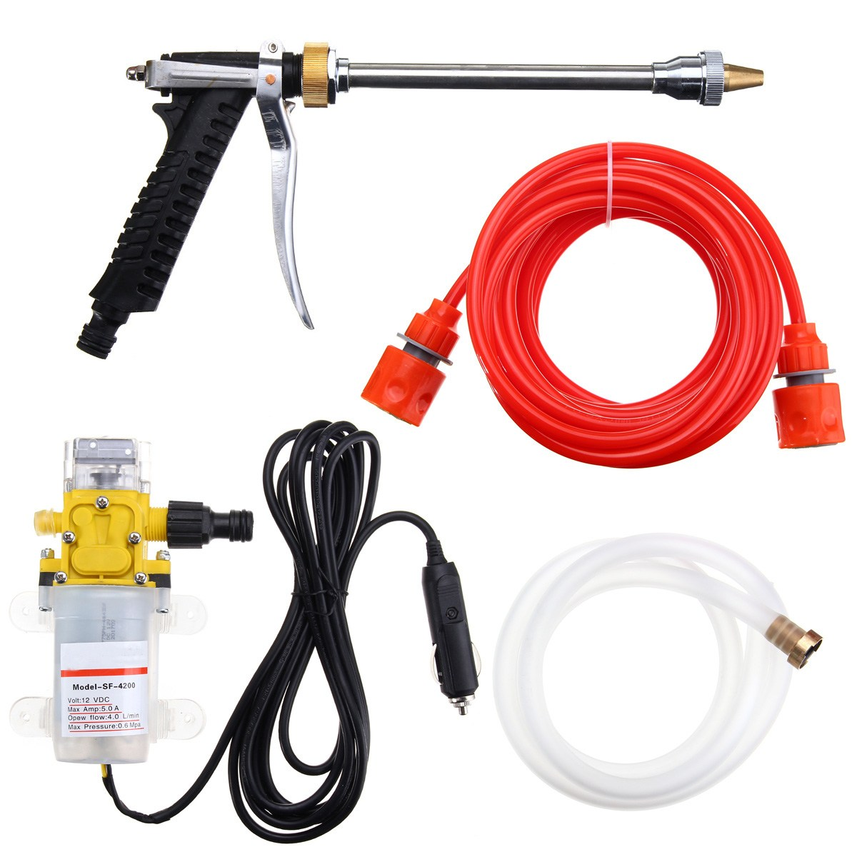 100W 160PSI DC 12V Portable High Pressure Car Electric Washer Wash Pump Set Tools Kit ...