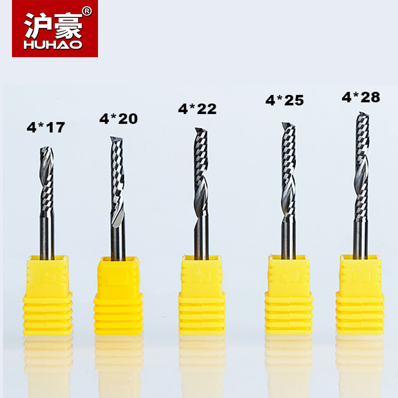 цена на HUHAO 5pcs/lot Single Flute Spiral Cutter Router Bit Shank 4mm CNC End Mill For Acrylic Carbide Milling Cutter Tugsten Steel