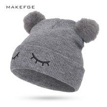 Милая детская хлопковая шапка с вышивкой, зимняя вязаная шапка с помпонами для мальчиков и девочек, уличная теплая двухслойная Толстая шапка, повседневная спортивная шапка