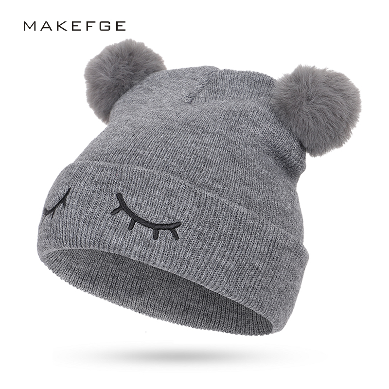 Cute Embroidery Children's Cotton Hat Pom-pom Winter Boy Girl Knit Hat Outdoor Warm Double-layer Thick Hat Casual Sports Cap