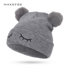 купить Cute embroidery children's cotton hat pom-pom winter boy girl knit hat outdoor warm double-layer thick hat casual sports cap дешево