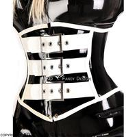 Black With White Sexy Latex Corsets With Belts Buckles At Front And Lacing At Back Rubber Bustiers CY 0013