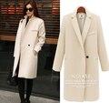 2017 Mulheres Moda Outono E Inverno Senhoras Longo Casaco Fino Único Botão casaco de Lã Longo Casacos Moda Casacos Longos Sobretudo