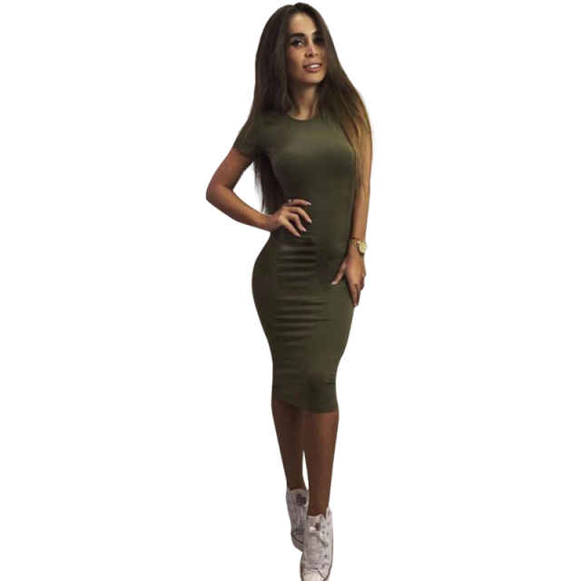 8a73565e5b3 2017 Spring Women Skinny Dress O-neck Short Sleeve Knee-length Dresses  Casual Solid Women Dress LJ5057C