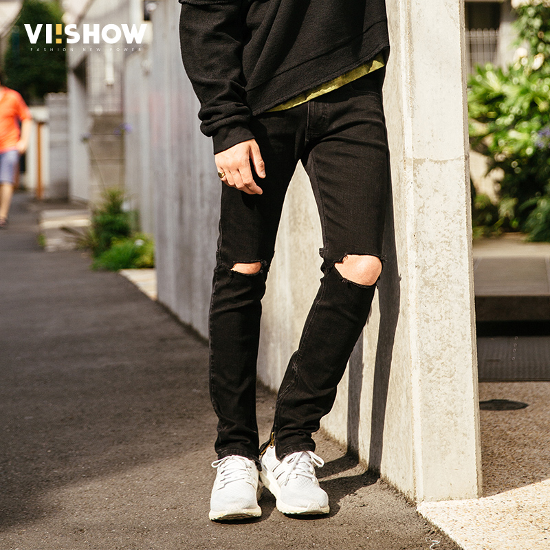 2017 New Black Ripped Jeans Men With Holes Denim Super Skinny Famous Designer Brand Slim Fit Jean Pants Scratched Biker Jeans men s cowboy jeans fashion blue jeans pant men plus sizes regular slim fit denim jean pants male high quality brand jeans