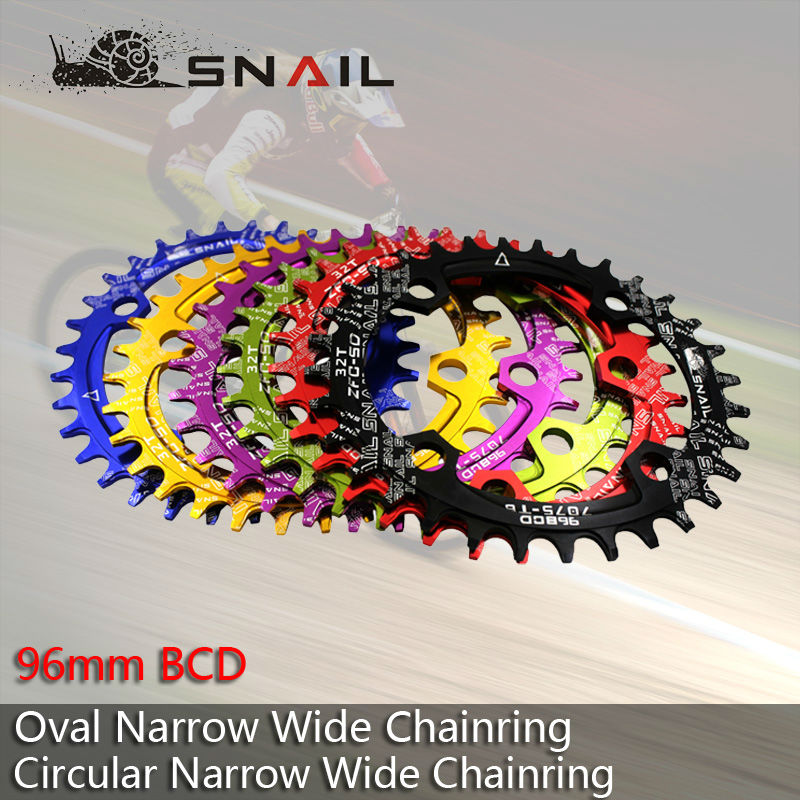 96BCD SNAIL 32T / 34T / 36T Kerékpár ovális láncgyűrű Kerékpározás A7075-T6 Ultrakönnyű lánckerék MTB kerékpár-forgattyús lemez