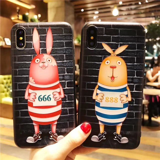 For IPhone 6 6s 7 8 Plus Case 3D Rabbit for IPhone X Cartoon Animal Silicone TPU queen ant Minions beautiful Phone Shell Case