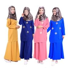 New style Two piece suit turkish women Bronzing clothing Fashion Muslim sets dress abayas and jilbab