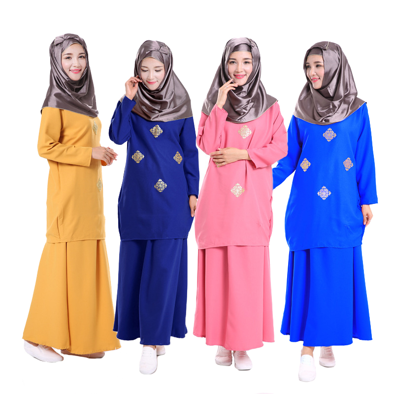 New style Two piece suit turkish women Bronzing clothing Fashion Muslim sets dress font b abayas