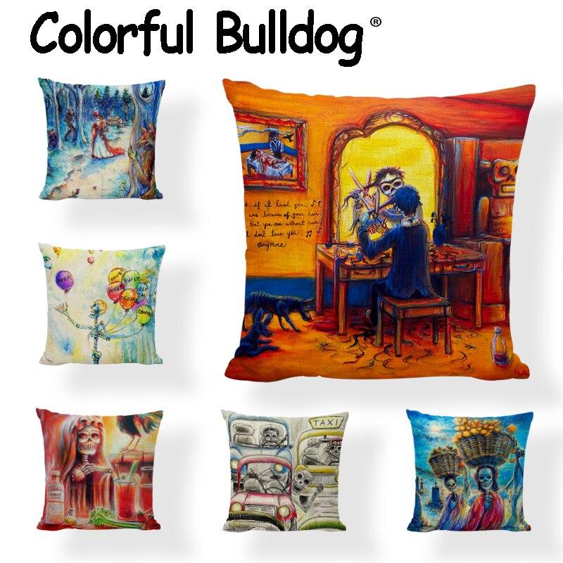 Hot Sale Sugar Skull Throw Cushion Cover Mexican Style Dancer Pillowcase Home Decor Car Gamer Chair Day Of The Dead Pillow Cover
