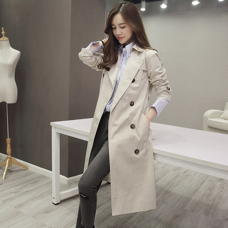 Double breasted windbreaker female long section 2019 spring and autumn women s jacket fashion ladies casual