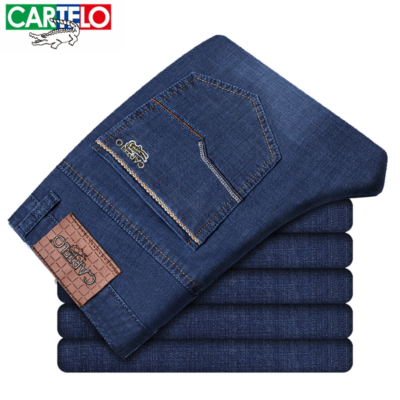 CARTELO Men Jeans Business Casual Thin Straight Slim Fit Blue Jeans Stretch Denim Pants Trousers Classic Cowboys jeans QY6601 fongimic new men clothing summer thin casual jeans mid waist slim long trousers straight high quality men s business denim jeans