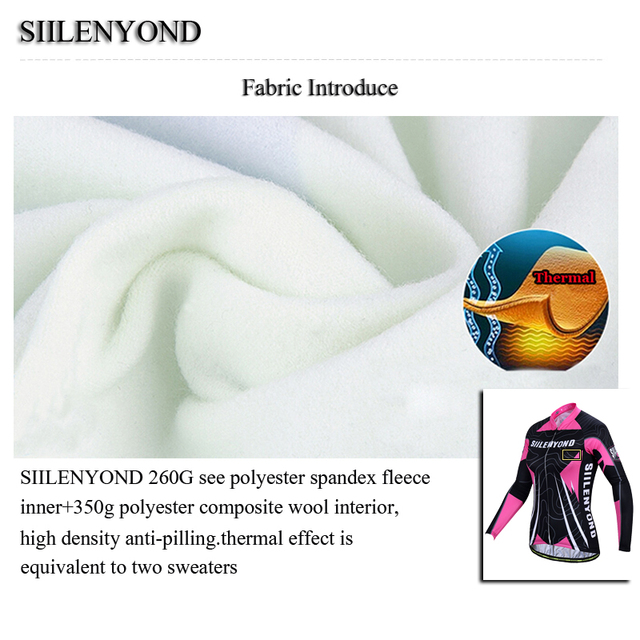 Siilenyond 2019 Women Pro Winter Thermal Cycling Jersey Long Sleeve Mountain Bicycle Cycling Clothing MTB Bike Cycling Clothes 3