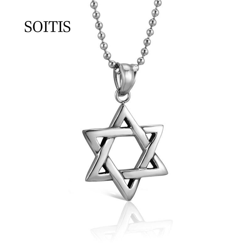 Women Mens Stainless Steel Hexagram Star Of David Pendant Necklace Chain