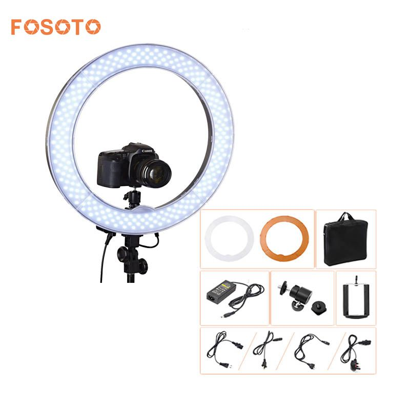 fosoto Camera Photo Video 18RL-18 240 LED Ring Light 5500K 55W Dimmable Photography Ring Video Light lamp for Camera Fill Light fosoto rl 18 55w 5500k 240 led photographic lighting dimmable camera photo studio phone photography ring light lamp