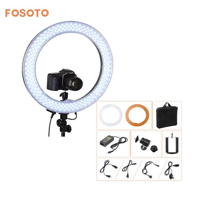 """fosoto Camera Photo Video 18""""RL-18 240 LED Ring Light 5500K 55W Dimmable Photography Ring Video Light lamp for Camera Fill Light"""