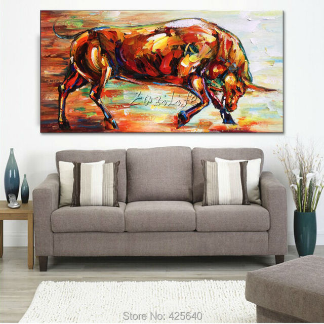 Paintings For Living Room Canvas Abstract Painting Animals Bull  Hand Painted Wall Pop Art Paintings Part 7