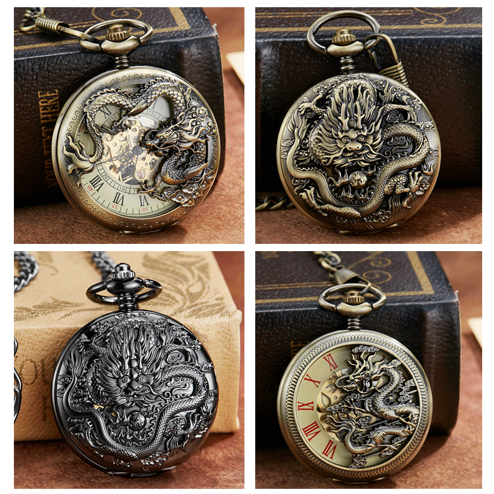 Vintage Mechanical Pocket Watch With Chain Dragon Laser Engraved Hand Winding Pendant Clock Men Bronze Black Flip Fob Watches
