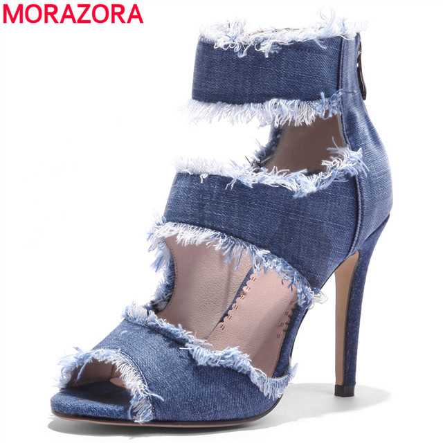 5322e2fafbc6f0 MORAZORA Large size 34-43 NEW 2018 High quality denim women sandals peep  toe stiletto high heels casual summer ladies dress shoe
