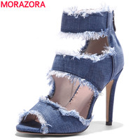 MORAZORA Large Size 34 43 NEW 2018 High Quality Denim Women Sandals Peep Toe Stiletto High