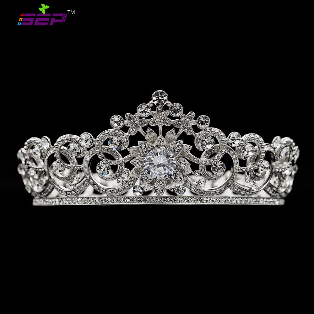 Royal Tiara Flower Crown for Women or Bridal Wedding Hair Jewelry Accessories with Crystals Rhinestone SHA8718 black and coffee 2 colors hair tiara ancient chinese emperor or prince costume hair crown piece cosplay use for kids little boy