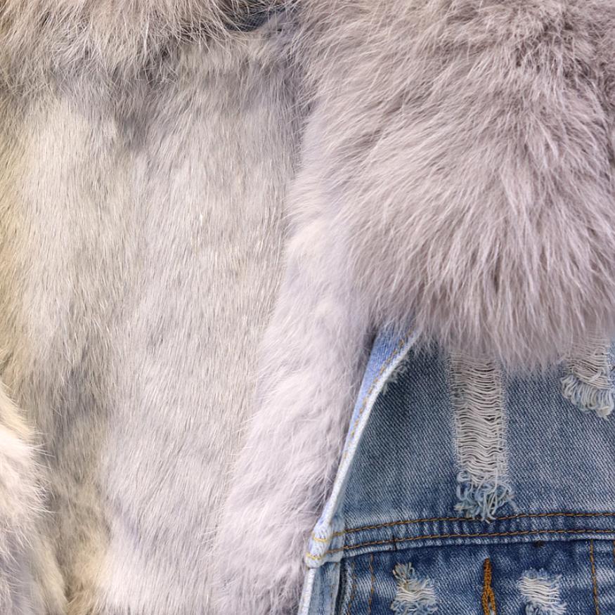 Renard Lâche Blue Chaud Réel Col Naturel Femmes Denim Doublure Lapin Cheveux Fourrure Manteau L1784 Outwear Veste Hiver Femme Épaississent De Mode qTn4WcBA