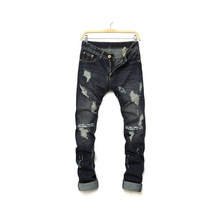 Unique fashion brand hole men's jeans trend personality letter printing street tide pants straight slim denim trousers men new brand personality fashion clothing style hole patch embroidery jeans 2017 men s fashion straight denim trousers blue