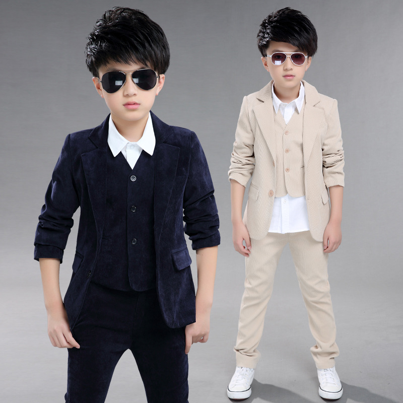 2018 Spring children's leisure clothing sets kids baby boy suit vest+outwear+pants gentleman clothes for  formal clothing 3pcs