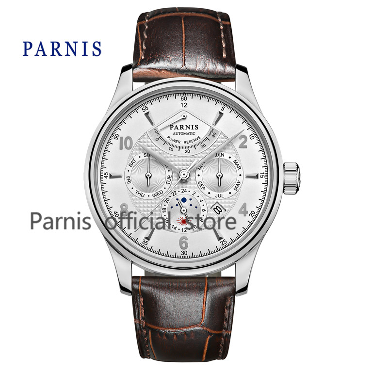 Casual 42mm Parnis Automatic WatchMen chanical Wristwatch Power Reserve White Dial Silver Numbers Moon Phase Men Watch 24 hour  casual 43mm parnis automatic power reserve white dial blue numbers silver watch case business watch men