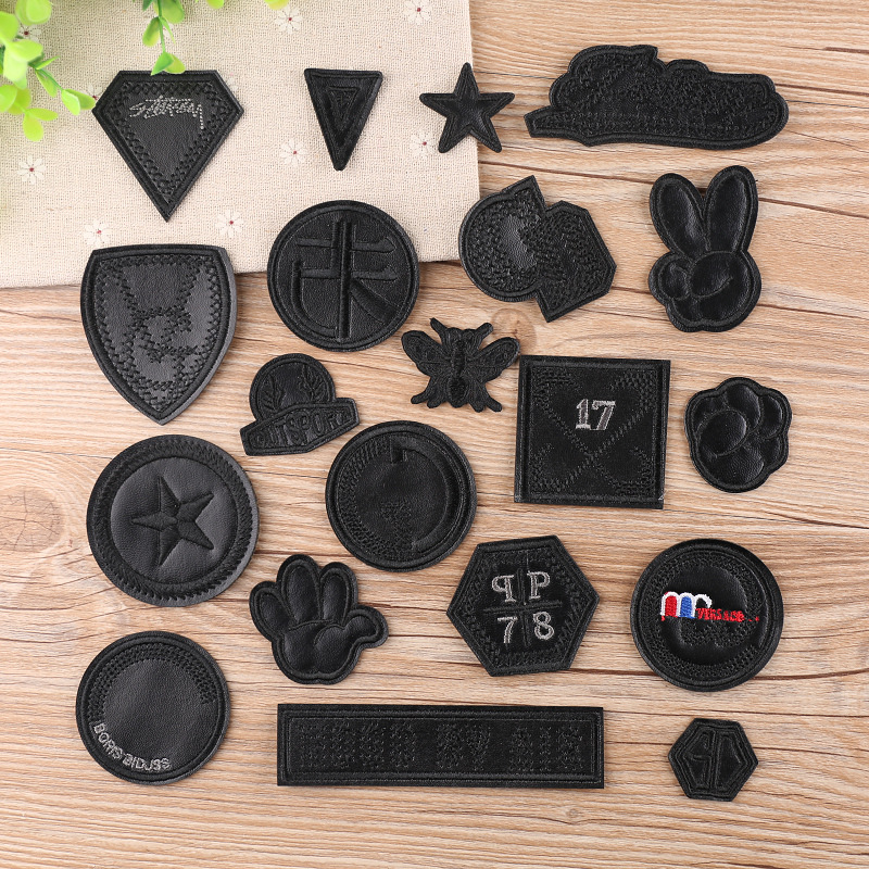 New Black Leather Yeah Star Number Embroidered Patches For Clothes Iron On Clothes Jacket Shoes Appliques Badge Stripe Sticker