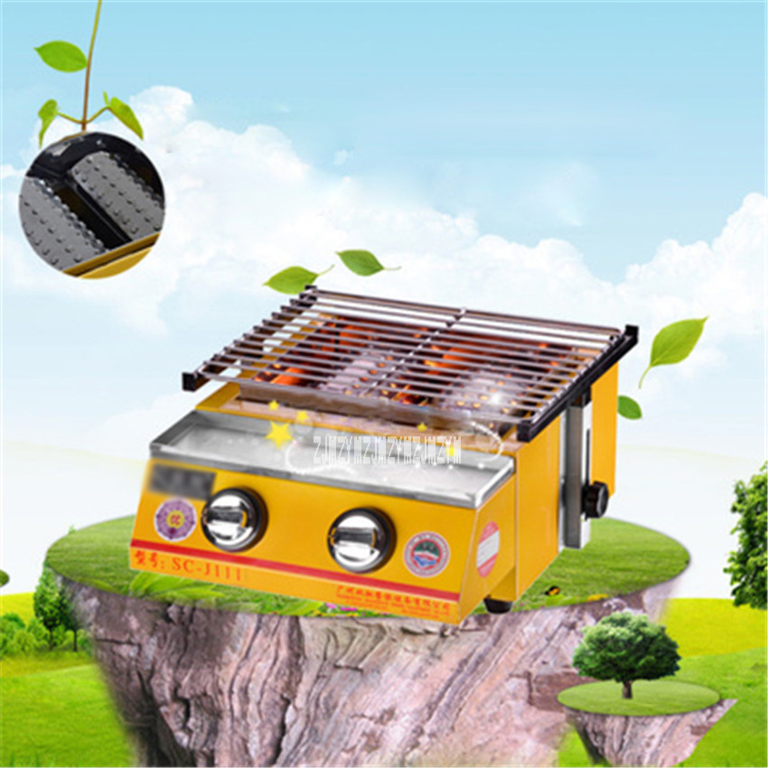 New Stainless Steel Gas Burner Environmentally Smoke free BBQ Grill, Gas Barbecue Portable Flat Environmental for Outdoor Picnic