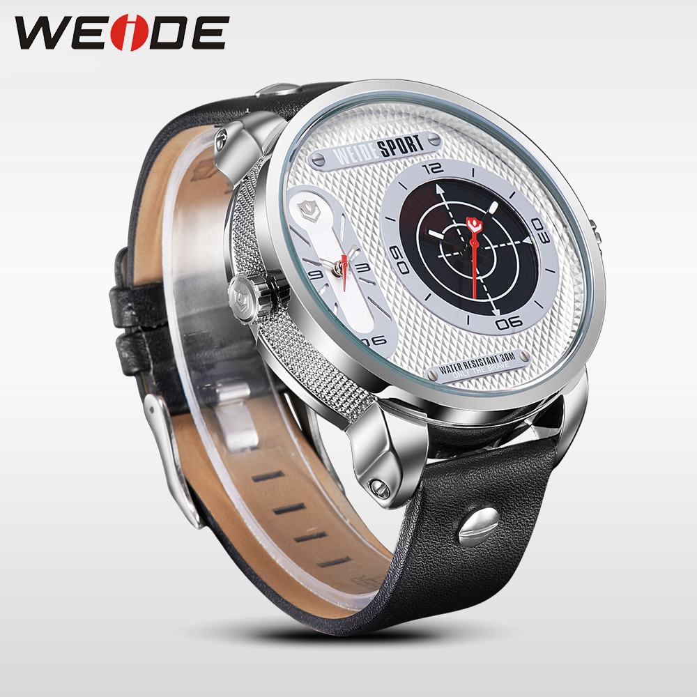 WEIDE New Arrivals Black Leather Watch Men Radar Analog Display Big Dial Watches for Men Steel Back Dual Time Wristwatches in Quartz Watches from Watches