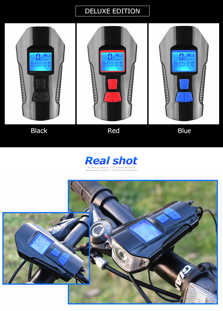 Waterproof Bicycle Front Light with USB Charging, Speed Meter and LCD Screen 26