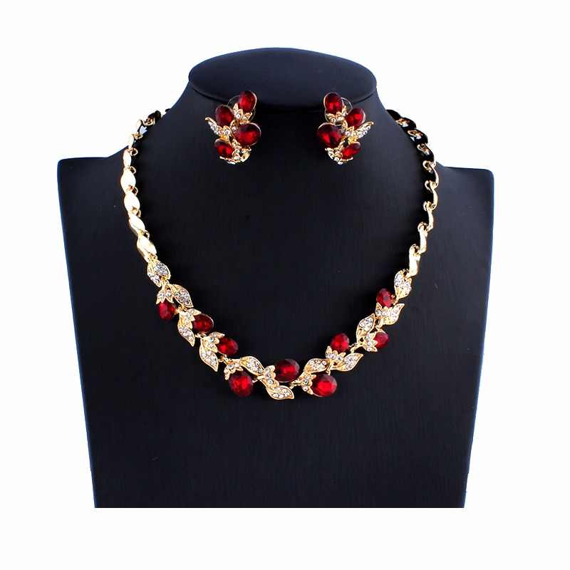 Jiayijiaduo Wedding Dress Jewelry Sets for Charm of Women Red Black Necklace Earrings Sets of Chain Party Gift Drop Shipping