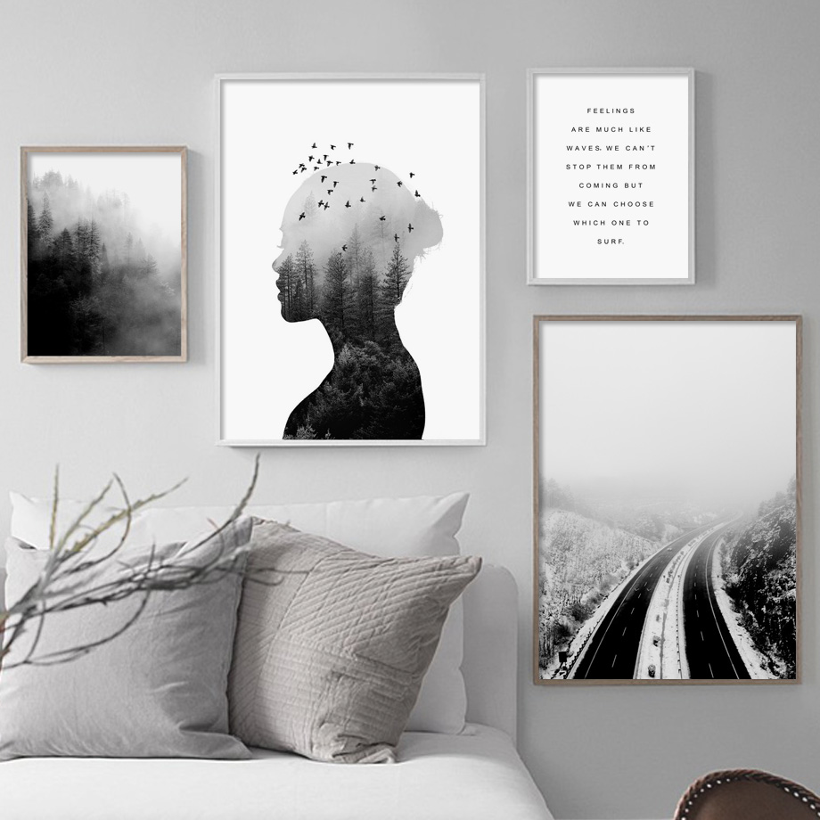 Abstract Woman Forest Road Landscape Wall Art Canvas Painting Nordic Posters And Prints Wall Pictures For Living Room Home Decor in Painting Calligraphy from Home Garden