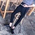 M-3XL de Verano Nuevos hombres de lino que prensa pantalones casuales hipotenusa delgada altura del tobillo pantalones pantalones falda pantalones estilista de moda