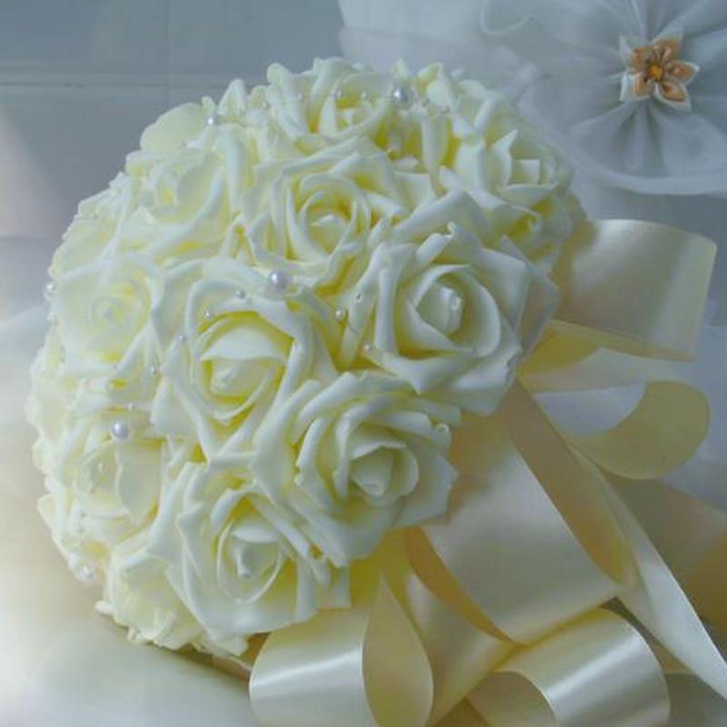 2016 A Buon Mercato Da Sposa Bouquet Da Sposa Damigella D'onore Del Fiore Artificiale Del Fiore Della Rosa Bouquet Da Sposa Bouquet Elaborato Finemente