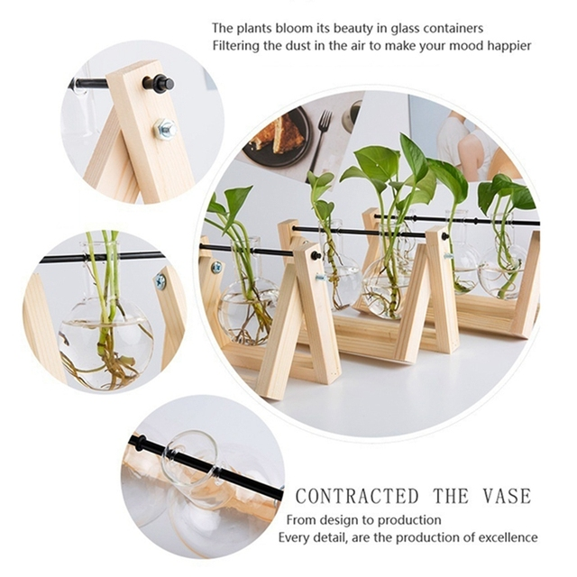 Desktop Glass Planter Vase with Retro Solid Wooden Stand and Metal Swivel Holder for Hydroponics Plants Home Wedding Decoration 1