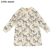 Little maven kids dresses for girls 2017 autumn baby girls clothes Cotton zebras print straight pockets dress S0255