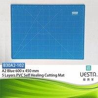 블루 3.0 미리메터 사각형 자기 치유 5 층 PVC 퀼트 절단 매트 A2 60x45 cm 24x18 인치