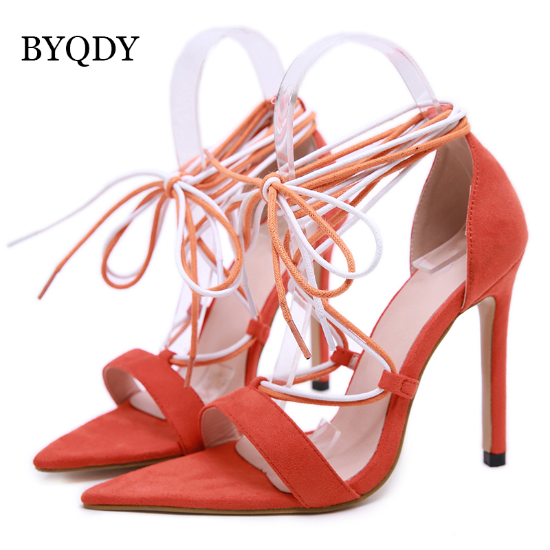 BYQDY Summer Women PU Sandals Narrow Band Buckle Design Cover Heel High Heels With Shoes Female Gladiator Shoes Size 35 40 in High Heels from Shoes