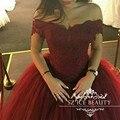 Borgonha vestido de Baile Quinceanera Vestidos Lace Tulle Off The Shoulder corset vestidos de 15 años barato plus size sweet 16 vestido