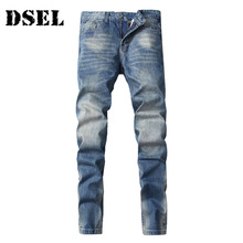 Фотография DSEL new brand men designer stretch casual straight leg denim jeans male regular fit cotton business trousers pants vaqueros